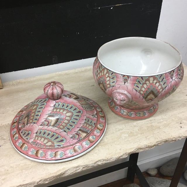 Toyo 1980s Boho Chic Lidded Pink Ceramic Serving Dish For Sale - Image 4 of 7