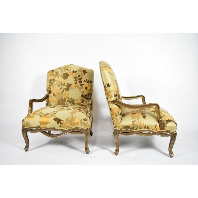 1990s Custom Louis XVI Style Lounge Chairs with Rubelli Fabric - A Pair For Sale - Image 5 of 9