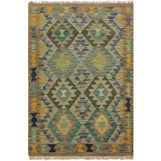 Leala Gray/Teal Hand-Woven Kilim Wool Rug -2'8 X 4'2