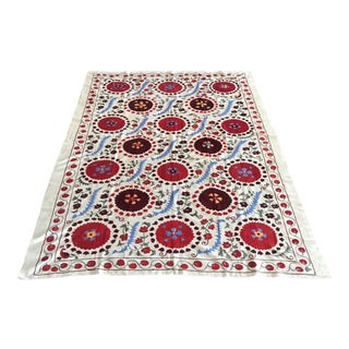 "Vintage Suzani Blue and Red Bedspread - 6'9"" x 4'6"" For Sale"