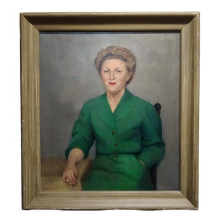 William Edwin Gebhardt -Portrait of a Lady in a Green Outfit-Oil Painting-C1954 For Sale