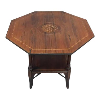 English Inlaid Rosewood Table A - Image 1 of 9