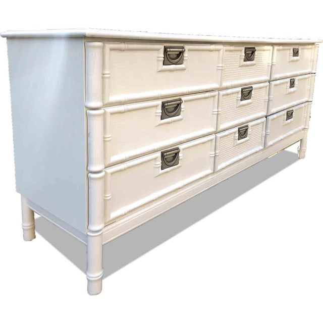 Asian Mid Century Hollywood Regency Faux Bamboo Dresser in White For Sale - Image 3 of 7