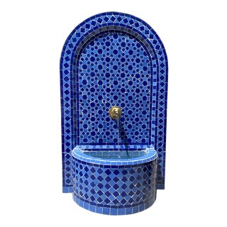 Blue Moroccan Arch Tile Fountain For Sale