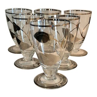 Vintage Mid-Century Modern Cordial Glasses With Silver Leaves - Set of 6 For Sale