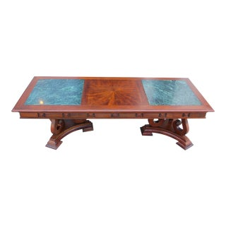 1930s Vintage Marble & Walnut Coffee Table For Sale