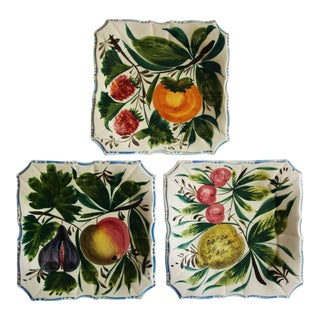 Italian Glazed Hand Painted Fruit Motif Ceramic Plates - Set of 3 For Sale
