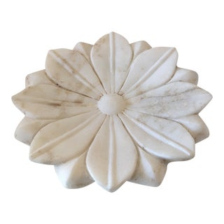 White Marble Lotus - Flower Hand - Made Plate For Sale