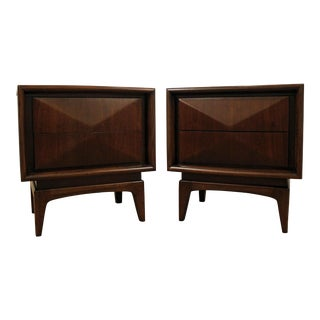 Pair of Mid-Century Danish Modern Walnut 3d Diamond Front Nightstands