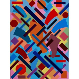 """""""Convergence-Divergence"""" Contemporary Geometric Hard Edge Acrylic Painting by Sassoon Kosian For Sale"""