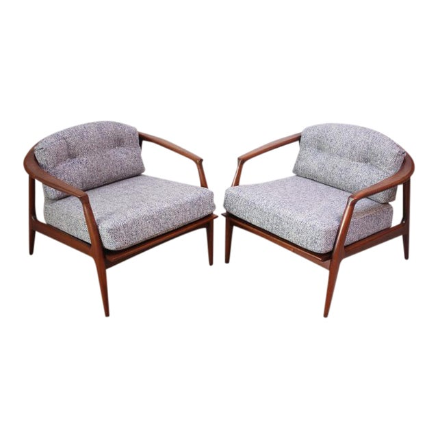Pair of Staved Walnut Lounge Chairs by Milo Baughman - Image 1 of 11