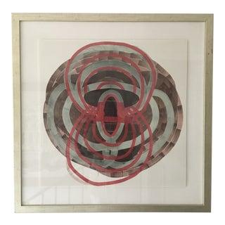 "1990s ""Paper Flower"" Framed Gouache on Paper Painting For Sale"