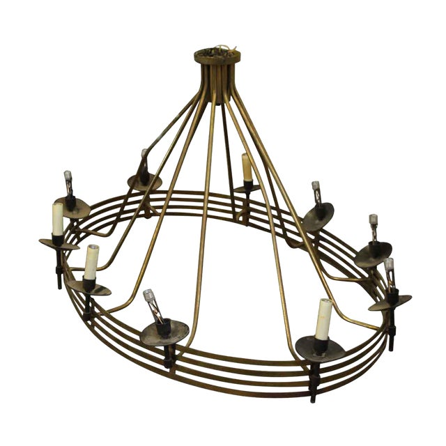 Large Mid Century Modern Oval Chandelier With 10 Lights