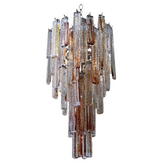 Italian Murano Mazzega Amber Fused Pendant Glass/ Nickel Silver Chandelier For Sale