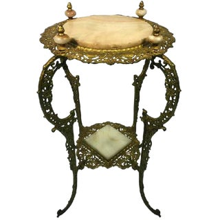 AMAZING ART NOUVEAU TWO-TIER ONYX AND GILDED IRON PLANT STAND For Sale