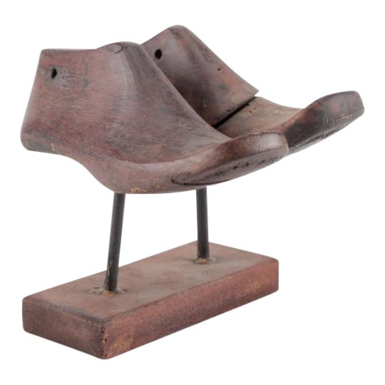 Vintage Wood Shoe Form Molds on Stand - a Pair - Image 1 of 6
