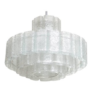 Murano Four-Tier Ice Glass Chandelier For Sale