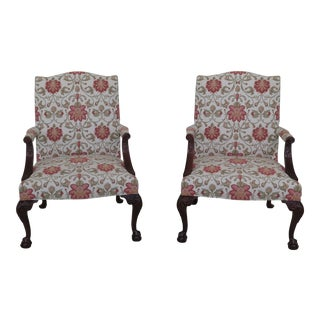 Hickory Chair Co Ball & Claw Mahogany Open Arm Chairs - a Pair For Sale