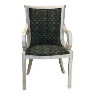 Vintage 1970s Enrique Garcel for Karl Springer White Bone Tile Arm Chair For Sale