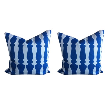 Christopher Farr Pillows in Blue & White Baluster Design - a Pair For Sale