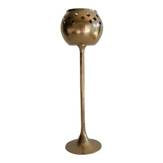 Vintage Tall Brass Candle Holder/Cone Incense Burner For Sale