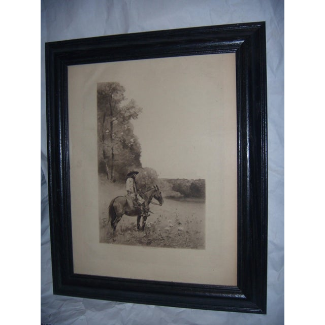 A very beautiful old 19th Century engraving of a man on a horse.
