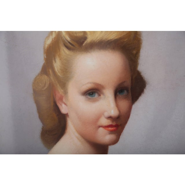 Art Deco Pastel Portrait of a Woman by Listed Artist Robert Louis Raymond Duflos For Sale - Image 3 of 11