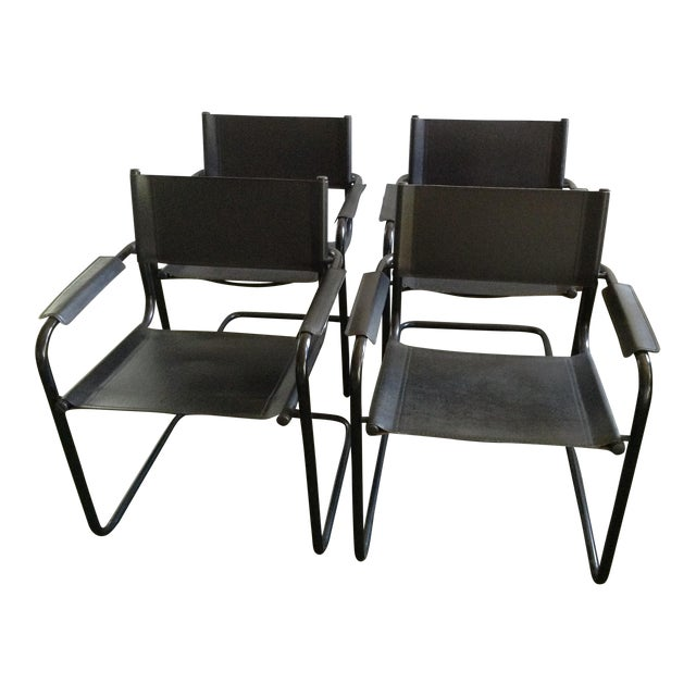 Italian Leather Arm Chairs - Set of 4 - Image 1 of 7