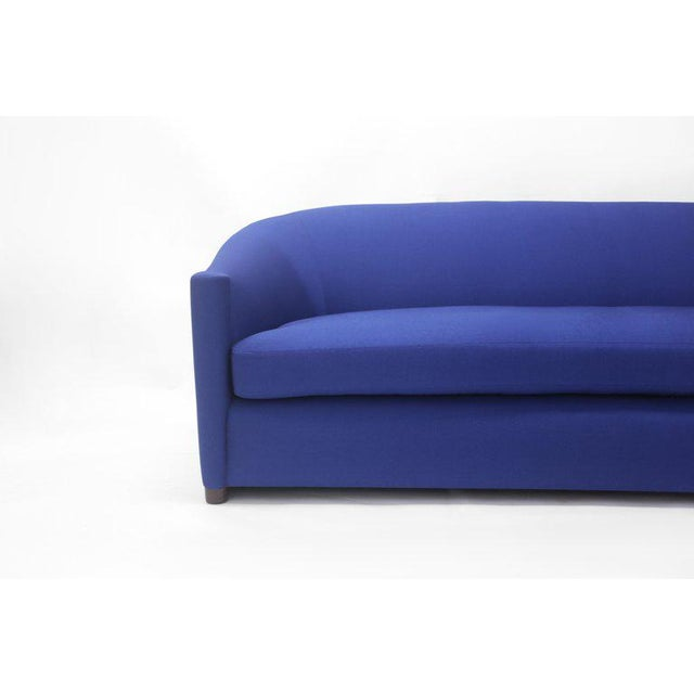 American Classical Blue Upholstered Curved Sofa With Wood Base and Loose Seat Cushion on Wood Base For Sale - Image 3 of 6
