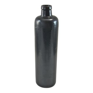 Black Rustic Stoneware Bottle For Sale