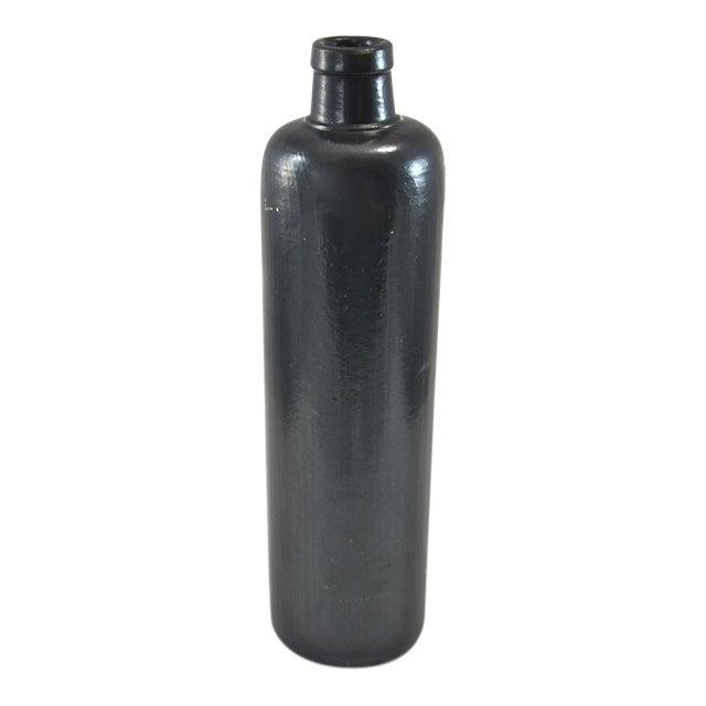 Black Rustic Stoneware Bottle For Sale