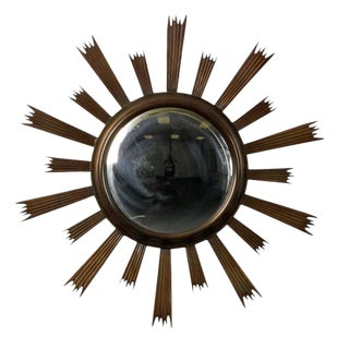 Mid-Century Sunburst Convex Mirror with Dark Metal Frame