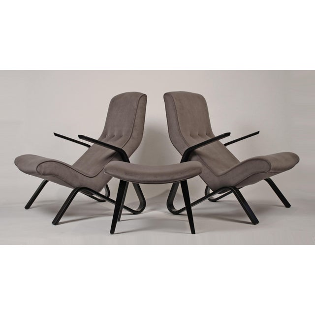 Pair of Early Eero Saarinen Grasshopper Chairs for Knoll With Rare Black Frames For Sale - Image 9 of 10