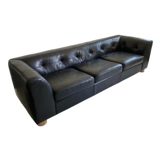 CB2 Kotka Tobacco Tufted Leather Sofa For Sale
