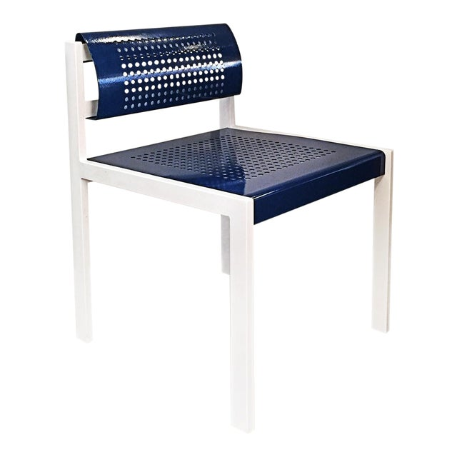 Set of 4 Modern Steel Patio Chair With Perforated Design, Refinished For Sale