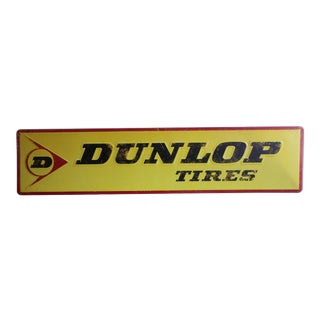 1960s Vintage Dunlop Embossed Metal Sign For Sale