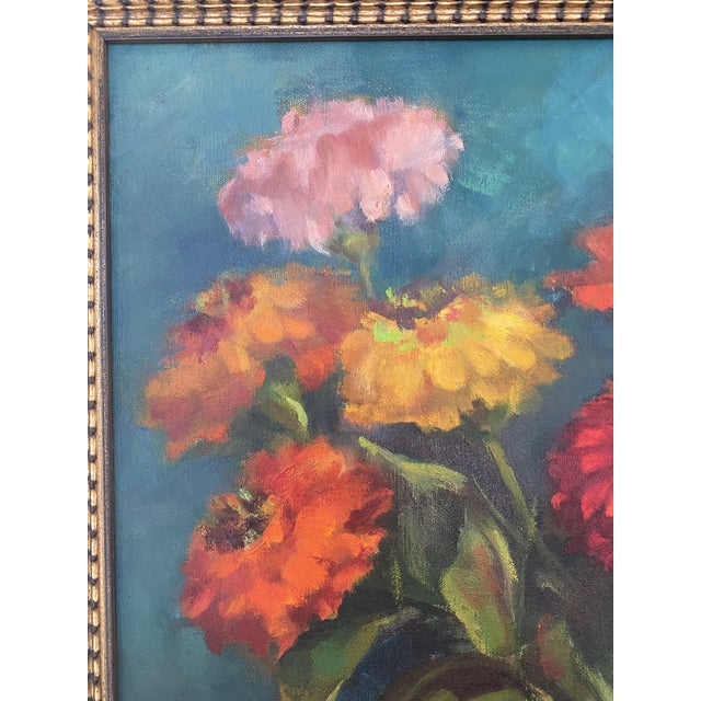 Late 20th Century Original Still Life of Flowers Oil Painting, Framed For Sale - Image 4 of 13