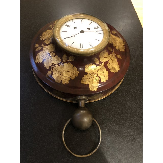 Red Antique French Tole Clock For Sale - Image 8 of 13