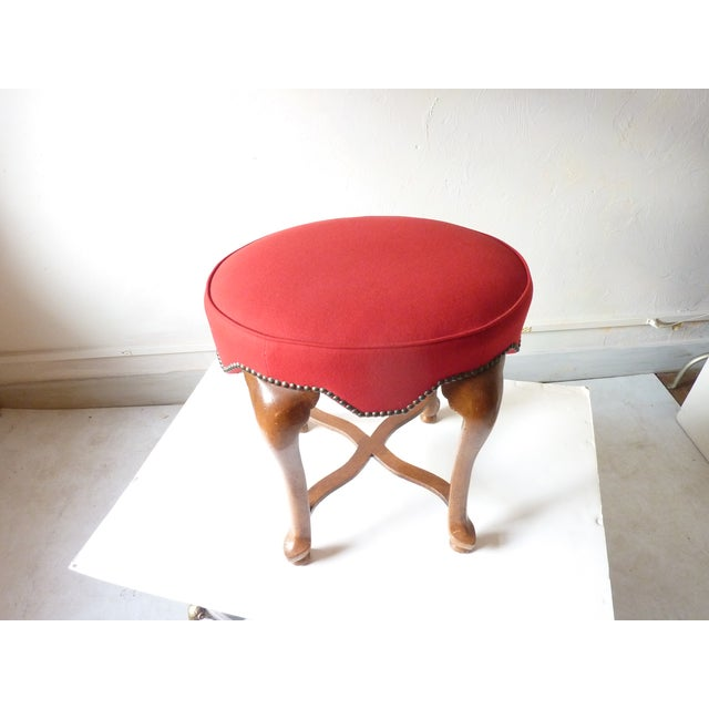 Late 20th Century Yale Burge Red Upholstered Low Stool For Sale - Image 5 of 6
