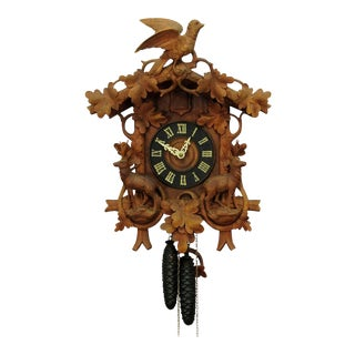 Black Forest Carved Wood Cuckoo Clock With Deers For Sale