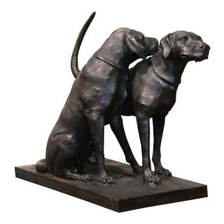Iron Hunt Labradors Retrievers Sculpture Composition After A. Jacquemart For Sale