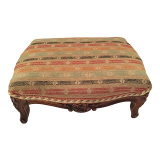 Carved French Striped Upholstered Footstool