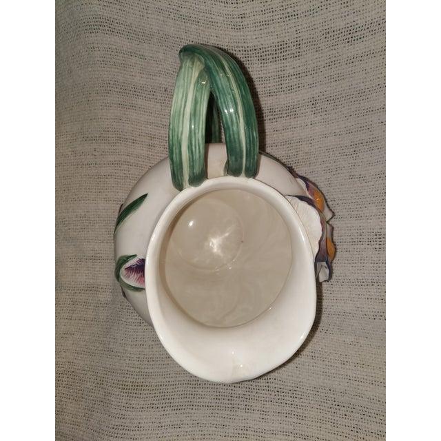 1990s Vintage Fitz & Floyd Ceramic Iris Pitcher For Sale - Image 5 of 7
