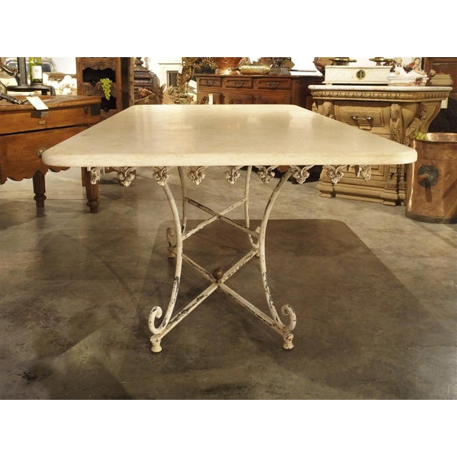 Cast Iron Large Antique French Iron and Marble Butcher Display Table, Circa 1915 For Sale - Image 7 of 11