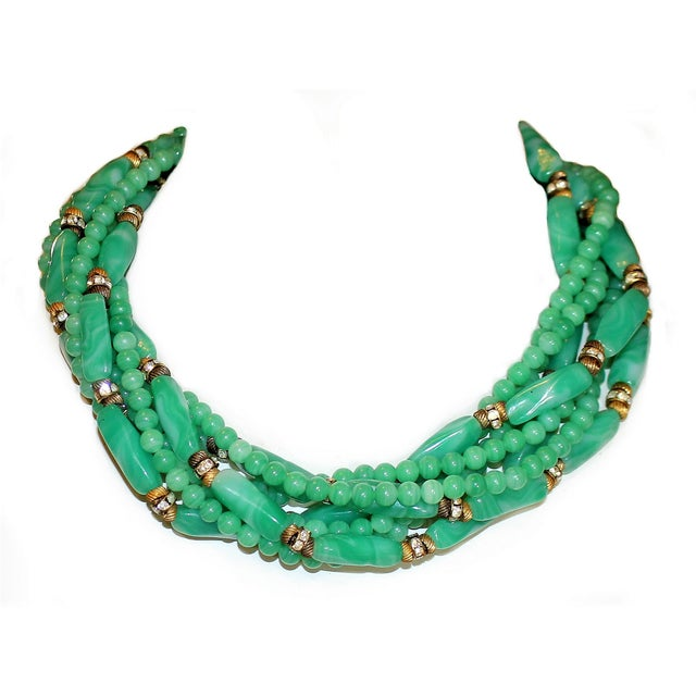 Mid 20th Century 1960s William deLillo Green Glass Bead Necklace For Sale - Image 5 of 5