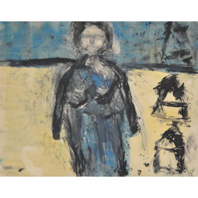 "Expressionism Arthur Krakower ""Mama at Rockaway"" Original Monotype C. 2003 For Sale - Image 3 of 5"