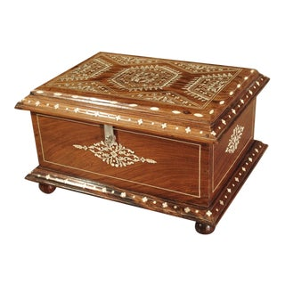Antique Bone Inlaid Table Trunk From Southern Iberia, 19th Century For Sale