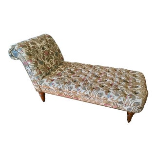 Vintage Scroll-Back Tufted Chaise For Sale