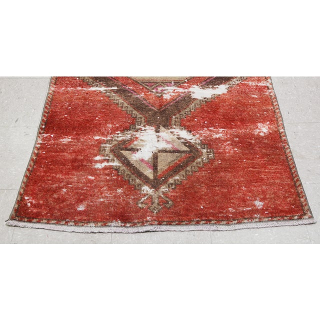 """1950s 1950s Boho Chic Brick Red and Brown Wool Kurdish Runner - 3'2""""x13'6"""" For Sale - Image 5 of 7"""