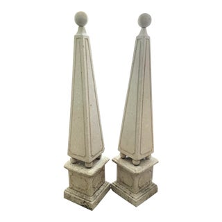 Classical Stone Garden Obelisk - a Pair For Sale